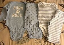 """Old Navy 4 Piece LOT """"Born To Rule"""" Bodysuits size 12 months Brown Star Stripe"""