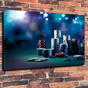 """Awesome Wall Art Casino Chips Printed Canvas Picture A1.30""""x20"""" 30mm Deep Frame"""