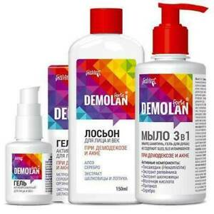 SALE! DEMOLAN FORTE Gel for Face and Eyelids 30ml, Soap 3in1 300ml, Lotion 150ml
