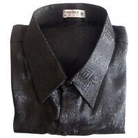 Mens Jacquard Weave Thai Silk Shirt / Short Sleeve Luxury Black S M L XL 2XL 3XL