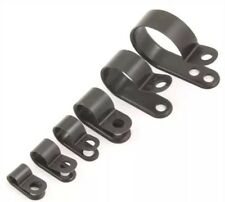Pkt 100 12.7mm Nylon Black Plastic P Clips -for Cable, Conduit, Tubing, Sleeving