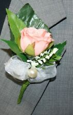 Pink Flower Boutonniere, Wedding Accessories, Prom