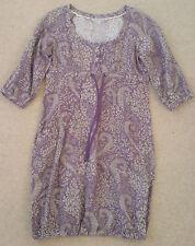 FAT FACE Linen/Cotton Grey & Purple Loose Fit Dress Size 12