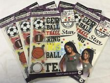 Sports Game Iron On Transfers Lot Of 5 Packs Balls Craft Project VBS
