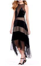 FOXIEDOX Dante Velvet Chiffon Midi Blue Dress (M) Nordstroms $225