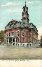 c1906 Chromograph Postcard City Hall & Court House Norwich CT New London County
