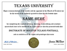 HOUSTON TEXANS PERSONALIZED FAN DIPLOMA, GREAT GIFT