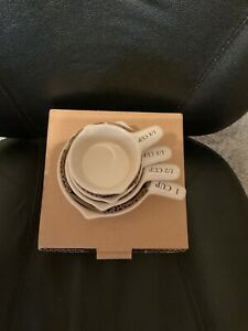 LONGABERGER POTTERY IVORY MEASURING CUPS WOVEN TRADITIONS NEW IN BOX!NICE ITEM