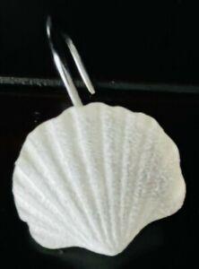 Seashell Shower Curtain Hooks Creative Bath frosted white set of 12 nautical NIB