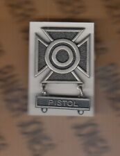 US Army SHARPSHOOTER w/ PISTOL bar Marksmanship Brushed award badge c/b