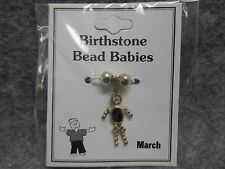March Baby Birthstone Bead Babies Necklace Pendant Charm Gold Tone & Rhinestone
