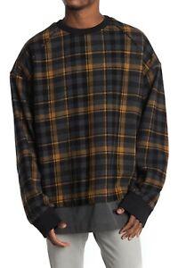 Juun. J Men's Plaid Wool Blend Oversized Pullover Sweater Sweatshirt Size 48 / M