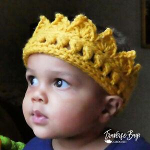 Crochet crown baby toddler child adult king queen photo prop costume