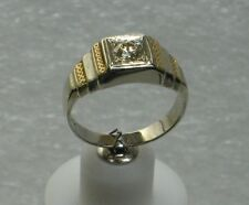 MEN'S 14K Yellow & White Gold Size 8 Ring W/ Solitaire Diamond NG49-A
