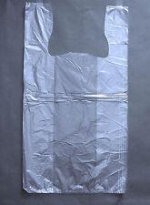 J U M B O 22x12x44 Plastic T Shirt Bags With Handles Black Or Clear