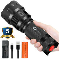 90000LM Super Bright USB Rechargeable LED Flashlight Torch Light 26650 Battery