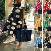 UK Womens Short Sleeve Floral Mini Dresses Holiday Casual Dress Summer Sundress