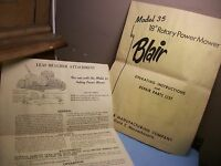 BLAIR MODEL 35 ROTARY POWER MOWER,OPERATING&PARTS LIST!