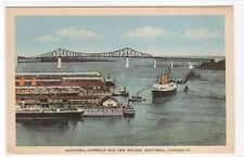 Montreal Harbour Ships Bridge Quebec Canada 1950s postcard