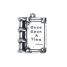 20 Small Story Book Charms, Once Upon A Time, Silver Metal Charms 17mm chs3209b