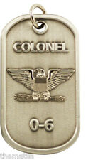 "AIR FORCE COLONEL  0-6 ENGRAVABLE REGULATION MILITARY  METAL DOG TAG 24"" CHAIN"