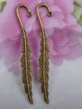 free ship 2PCS Bronze Feather Shape charm bookmarks 80MM JK0743