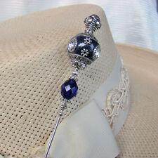 Hatpin Dark Blue Hand Made Ceramic with Rhinestones and crystal - 8 inch