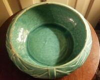 """Vintage McCoy Pottery Green Bamboo Palm Pattern Bulb Planter approx 8 1/2"""" D"""
