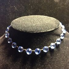 "Art Deco Blue Faceted Glass Pools of Light Riviera 15"" Choker Necklace Sterling"