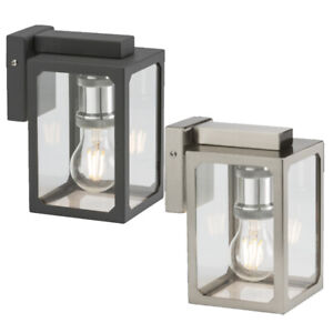 E27 IP23 Traditional Square Wall Lantern Lamp Outdoor Garden Stainless Steel