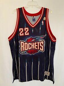 Rétro Clyde Drexler #22 Houston Rockets Basketball Jersey Maillots Bleu Marin