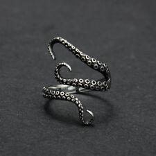 Fashion Men's Titanium Stainless Steel Octopus Finger Rings Gothic Biker Jewelry