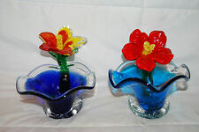 LOT OF 2 HANDBLOWN GLASS FLOWER CANDY COLORFUL DISH 6""