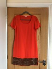 PER UNA Orange with Copper/Bronce Sequin Short Sleeve Chiffon Dress Size 10 NEW