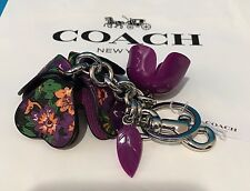 NEW COACH FLORAL RESIN AND  COATED CANVAS TEA ROSE BAG CHARM HYACINTH MULTI $90
