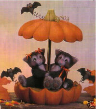 Ceramic Bisque Ready to Paint Cat Couple Pumpkin Parasol Music Box kit included