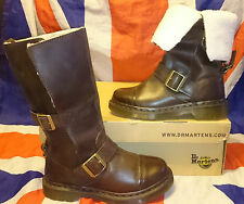 Kathleena*Brown Mirage Fold Over Dr Doc Martens*Triumph*Biker*Buckle*Skingirl*3