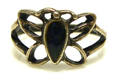 STERLING SILVER ENAMEL RESIN BUTTERFLY SMALL WOMENS CHILD RING BAND SIZE 4