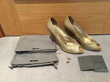 Miu Miu Gold Leather Croc Effect Peep Toe Heels