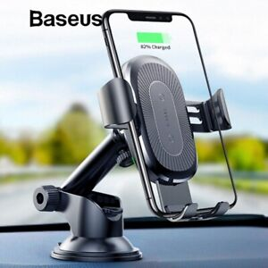 For iPhone 12 11 Pro S21+ Baseus Car Mount Holder Stand Qi Wireless Fast Charger