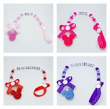 Personalised Baby Girls Dummy Clip Pacifier/Soother saver Minnie Mouse Inspired