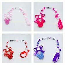Personalizado Bebé Niñas Maniquí Clip Chupete/Chupete Saver Inspirado Minnie Mouse