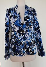 EMERGE Blue/Black/White Floral Jacket Size 8