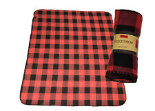 "Fleece Throw Blanket 50"" X 60"" Buffalo Check Light Red/Black or Blue/Black Plaid"