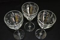 Set of 3 Clear Crystal Optic Glass Wine/Water Glasses W/Etched Flowers
