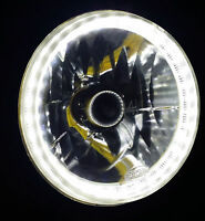 "White 7"" Round LED Halo Ring H4 Headlights Angel Eye DRL Land Rover Defender 110"