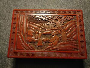 Antique CHINESE CARVED CINNABAR LACQUER BOX Wise Man with Student