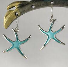 Sweet Azure Ocean Blue Enamel and Silver Starfish Dangle Earrings