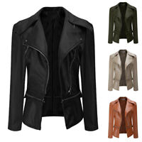 Women's Ladies PU Leather Jacket Flight Coat Zip Up Biker Casual Tops Outfit UK