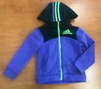 NWOT Adidas Girls Athletic Hoodie Fleece Full Zip Jacket (Purple/Green, 5)
